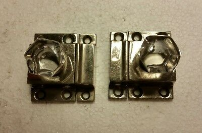 Pair of antique heavy nickel plated brass cabinet latches glass knobs (2021A)