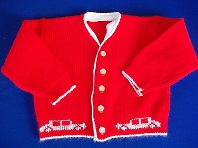 Vtg 60's Toddler Old Car Sweater Red with White Trim Button Down sz 1-2 baby