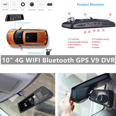 """10"""" Full Touch Android 4G Bluetooth WIFI Auto Car DVR GPS ADAS with Rear camera"""