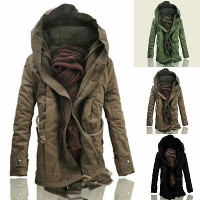 Winter Mens Military Trench Coat Ski Jacket Outdoor Hooded Parka Thick Overcoat