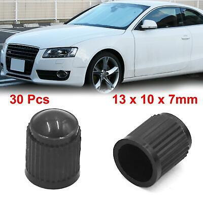 30Pcs Black Plastic Tire Air Valve Stem Caps Tyre Wheel Rims Dust Cover for Car