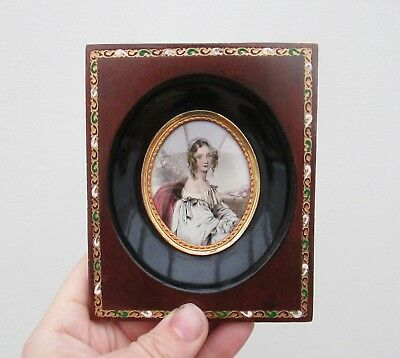 Antique Portrait Miniature Of A Beautiful Young Women - Arts & Crafts Style
