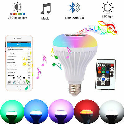 LED Wireless Bluetooth Bulb Light Speaker 12W RGB Smart Music Play Lamp+Remote %