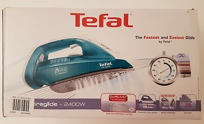 Turquoise Tefal UltraGlide Steam Clothes Iron 2400W Durilium Soleplate FV4041 UK