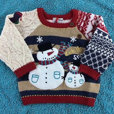 Next Baby BNWT Patchwork Xmas Knitted Jumper With Snowman Design For 6-9 Months