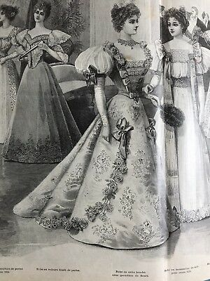 MODE ILLUSTREE SEWING PATTERN Dec 22,1895 SEVERAL  BALL GOWNS