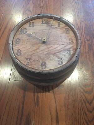 Vintage Antique Wine Barrel Clock Hand Made
