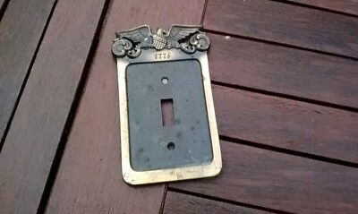 vintage  General  Electric brass switch  plate with eagle 1974