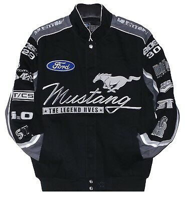 Ford  Mustang  Jacket  Mens  Black Twill  Cotton Jacket by JH Design New