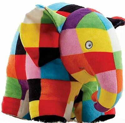 Elmer the Patchwork Elephant Baby Soft Toy Newborn Gift Rattle Comforter Plush
