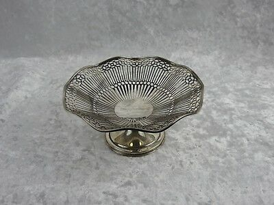 Silver Bon Bon Dish - Pierced Decoration On Pedestal Foot - Birmingham 1921