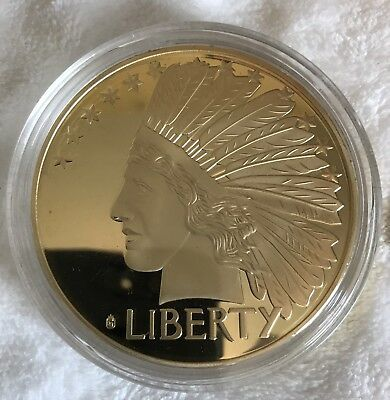 U.S.A. - RESTRIKE - HUGE! 130 grams LIBERTY GOLD PLATED PROOF $20 COIN
