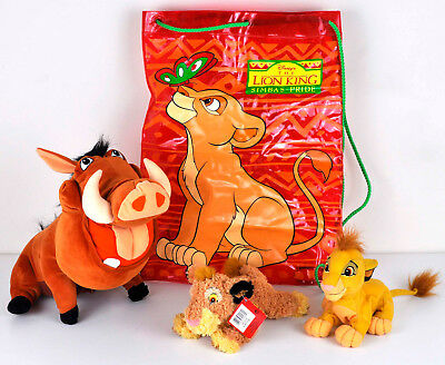 Disney The Lion King Soft Plush Toy & Bag Bundle Simba Feed Me Pumbaa