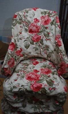 Edwardian Country House Antique Pair Glazed Chintz Cotton Fabric Chair Covers