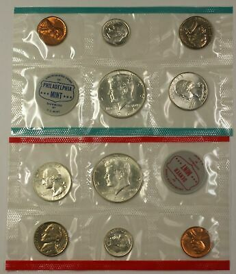 1964 U.S. 10 Coin P&D UNC Mint Set with Silver Quarter, Half and Dime as Issued