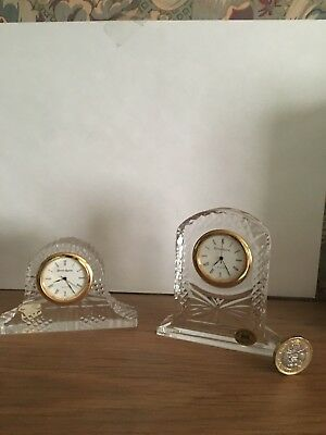2 Super Little TYRONE CRYSTAL Mantle Clocks.   Excellent Conditions