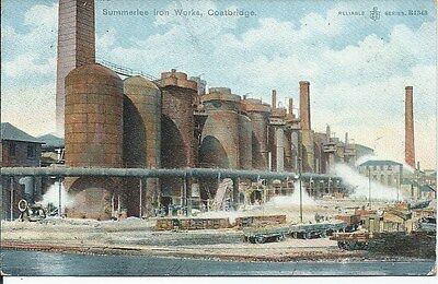 COATBRIDGE Summerlee Iron Works Lanarkshire Postcard 1906 Postmark