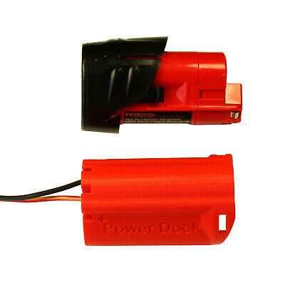 Milwaukee M12 Battery Dock, wired 14AWG power lights, e-bike, tools #M12-PD-14