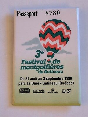 3e Festival De Montgolfieres de Gatineau Button Hot Air Balloon Festival 1990
