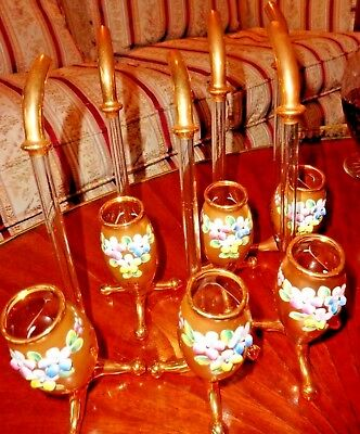 ANTIQUE SET 6 PORT WINE SIPPERS HAND PAINTED BLOWN GLASS 24k GOLD MOSER BOHEMIA