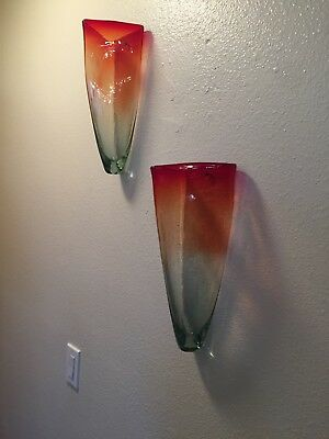 Handcrafted Art glass -pair of triangular prism vase wall sconces