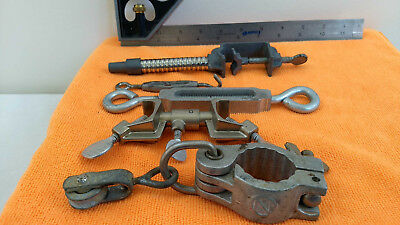 5 Vintage Made USA Clamp Pulley Spreader Fisher Castaloy Pipe Support Hanger