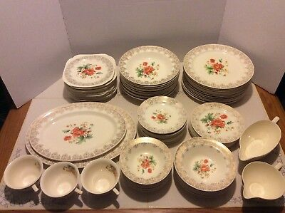 73 pc Edwin M. Knowles Antique 22k Floral China Dinnerware Set- Plates Bowls USA