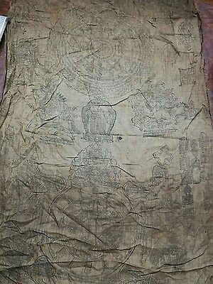 Antique Tibetan Buddhist Large Woodblock Print On Cotton.