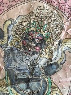 Antique Mongolian Buddhist  Large Woodblock Amulet Print On Paper