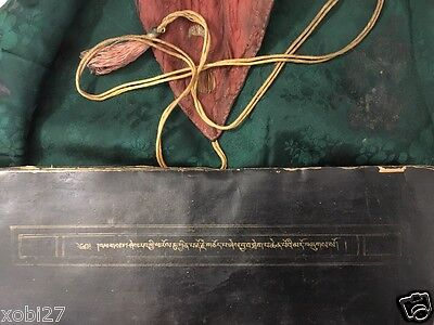 Antique Tibetan  Buddhist Gild Written  Black Manuscript Sutra