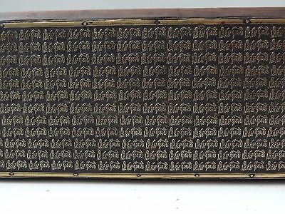 Antique Tibetan Buddhist Hand Chased Mani Mantra Scripts On Brass