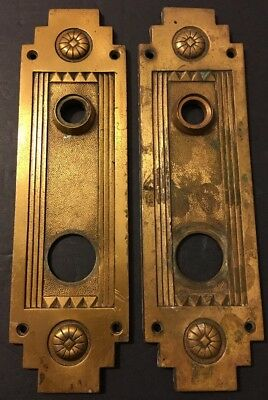 2 Antique Sergeant Victorian Eastlake Bronze Door Back Plates Lock Geometric