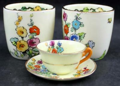 "Crown Staffordshire HOLLYHOCK MULTICOLOR 2 Egg Cups + ""Toy"" Cup & Saucer F12917"
