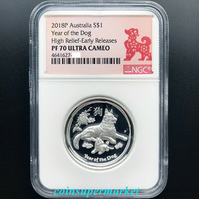 2018 Australia Lunar Year Of Dog High Relief Proof 1oz Silver Coin NGC PF 70 ER