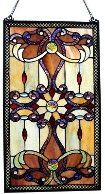 Brandis Amber Victorian Stained Glass Panel 26-inch Window Treatment Vertical