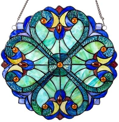 Mini Halston Stained Glass 12-inch Panel Window Treatment Hanging Decor Round