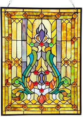 Multicolor Stained Glass 24.75 in High Fleur De Lis Panel Window Treatment Decor