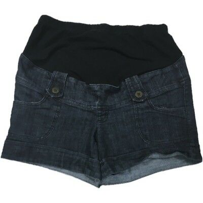 First Kick Maternity Blue Jean Denim Shorts Size Large with Band