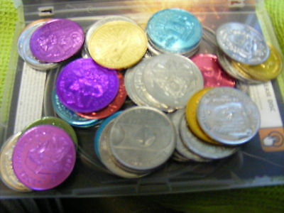 Lot of 50 Genuine New Orleans Mardi Gras Doubloons,wide variety,many years.