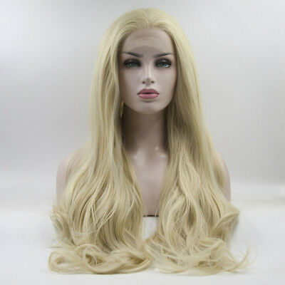 """Blonde 24"""" Sarah Newlin Wavy Lady Daily Lace Front Cosplay Wig Halloween+Cap"""