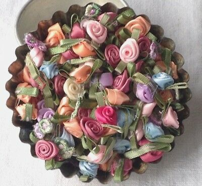100pc Vintage Rose Buds, Mini Flowers Millinery, Flower Makers, Dolls & Bears