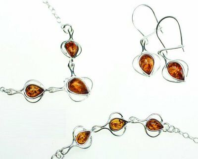 Silver and Amber Jewelry Set Honey Drop Matching Necklace Bracelet Earrings in