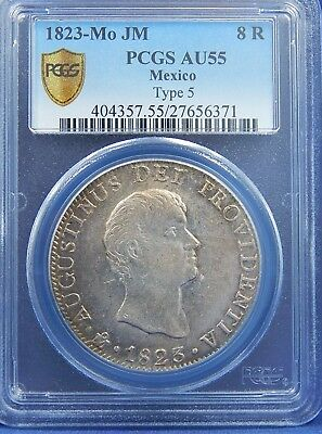 1823 Mo JM 8 REALES MEXICO PCGS AU55  TYPE 5 HEAVY EARLY MEXICO REPUBLIC RARE!