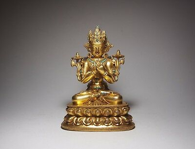 A Superb Tibet Gilt Bronze Figure of Vajradhara, possibly 17th Century