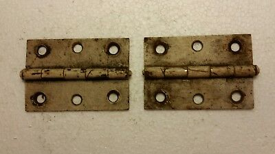 Pair vintage old antique steel, iron hinges with old paint (1028)