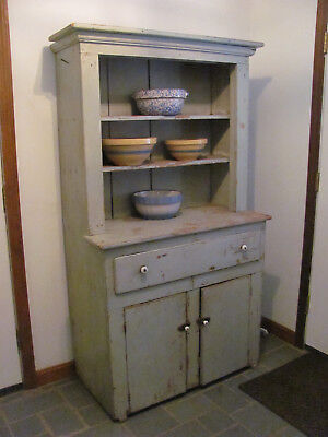 c.1850 Stepback Cupboard in Light Blue Original Paint