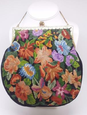 Antique 1920S Petit Point Tapestry Purse Bag Arts & Crafts Floral Vtg Embroidery