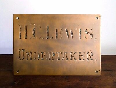 Antique Victorian UNDERTAKER Solid Brass Trade Sign H.C. LEWIS 19th Century