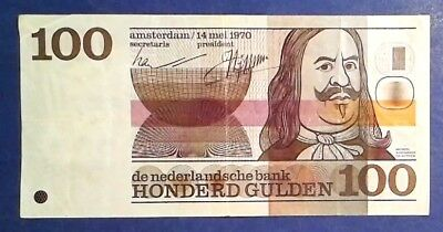NETHERLANDS: 1 x 100 Gulden Banknotes (1970)  - Very Fine Condition