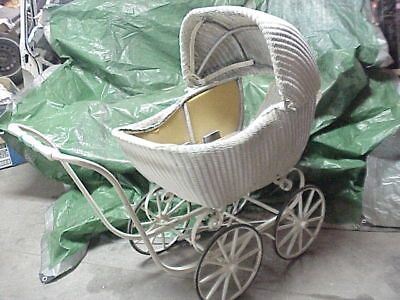 Vintage White Wicker Stroller Buggy with good rubber wheels